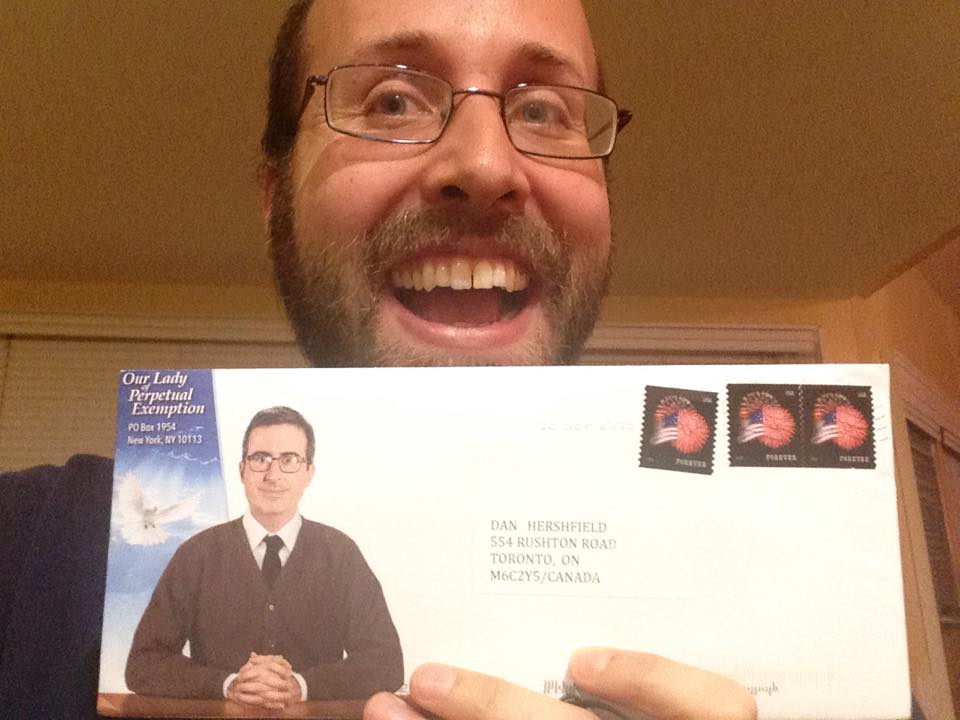 John Oliver envelope (address not blacked out)